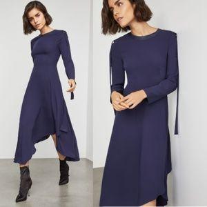 BCBG MAXAZRIA Asymmetric Pleather-Trimmed Dress 8